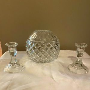 Crystal Rose Bowl with 2 Candlesticks